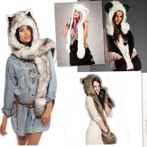 Winter Europe and America Warm Faux Fur Hat Plush Animal Hat Dome Cute Cartoon Hat Scarf Gloves One Fox Leopard