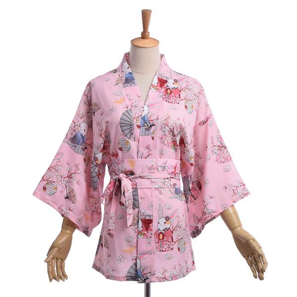 1pc Japanese Style Casual Matsuri Yukata Women Prayer Rabbit Flower Kimono Jacket Yukata Coat Outwear Tops