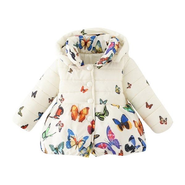 top popular Fashion Toddler Baby Girls Winter Coat Infants Kid Cotton Butterfly Parkas Outwear Girl Down Clothes 2021