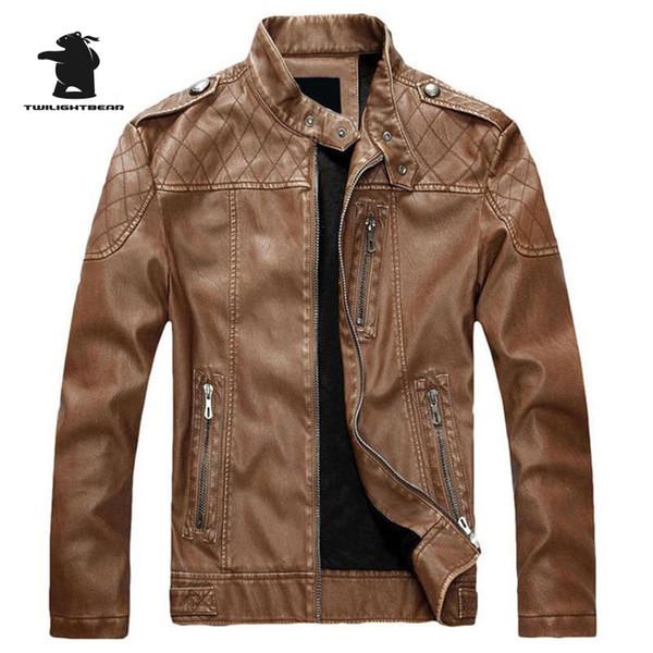 New Men's Fleece PU Leather 2016 Fashion Slim Stand Collar Casual Biker Jacket Men Bomber Jacket Leater Coats M~3XL D40F8899