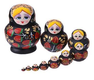 10Pcs Wooden Round Belly Strawberry Russian Matryoshka Doll Hand Painted Nesting Dolls for Kids Children Birthday Gift Free Shipping