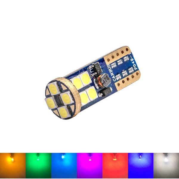T10 W5W 12 SMD 3030 LED Car Clearance Light Marker Lamp CANBUS ERROR FREE Auto Wedge Tail Side Bulb 7-Colors 12V DC