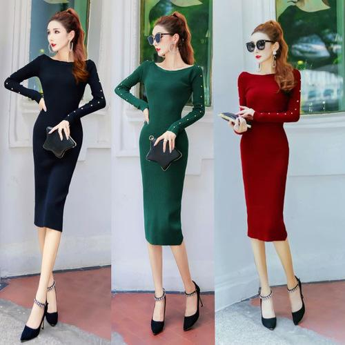 2019 European and American Autumn Winter One Collar Sweater Split Skirt Long Sleeved Knitted Long Sexy Dress with Rivet A0070