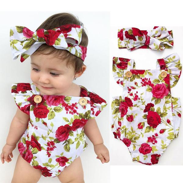 Baumwolle Rüschen Blumenspielanzug Babykleidung 2018 Neugeborenes Baby Kleinkind Strampler mit Stirnband Overall Sunsuit Outfits