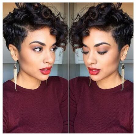 High quality Synthetic Short hair black fluffy wig African American Black Wigs for Black Women