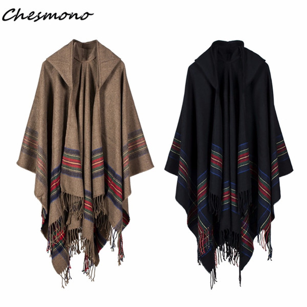 Winter Women Loose Coat Oversized Knitted Cardigan Sweater Cashmere-Like Striped Plaid Tassels Poncho Cape Shawl Cloak With Hood