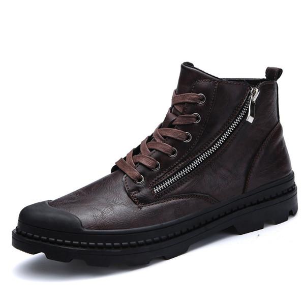 Acheter PU Cuir Hommes Bottes À La Mode Bottes De Neige Pour Les Hommes Zipper Hommes Bottes Homme Noir Marron Chaussures À Lacets Pour L'hiver