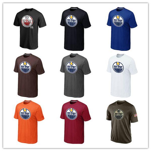 Beliebte Edmonton Öler T-Shirts 2018 Hockey Trikots Günstige T-Shirts Öler Salute To Service Camouflage Herrenhemden Weiß Schwarz Blau Gut