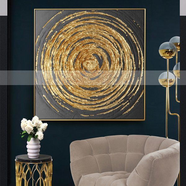 Handmade 1 piece golden Circles modern contemporary abstract oil painting on canvas wall art pictures for living room home decor Y18102209