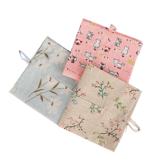 High Quality Fashion Home Decor Printed Linen Cloth Napkin Bag Tissue Box Hanging Paper Storage Container Three Colors