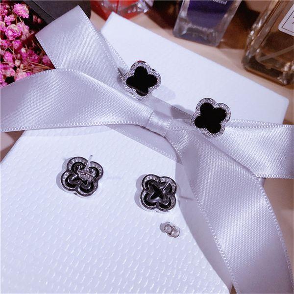 Brand new clover silver stud earrings jewelry real photos fashion sterling silver earring luxury cz diamond designer earrings