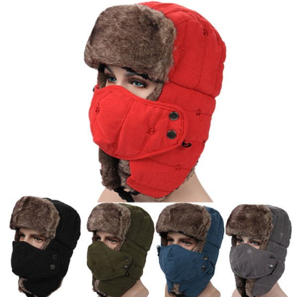 Vintage Winter Cotton Fur Hat Bomber Hats for Men Women Keep Warm Earflap Thicken Balaclava Skull Ski Caps with Mask Unisex Trapper Hats