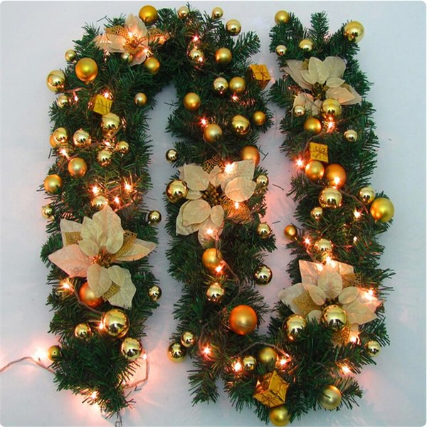 Hot 270cm Original Green Christmas Garland Party Decoration Pvc Rattan Ornament Merry Xmas Rattan Cane Christmas Wreath S1335