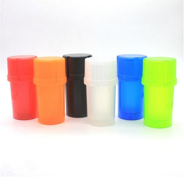 Wholesale 3 Part Bottle Shape Plastic Herb Grinder With 46mm Diameter Variety Color Acrylic Herb Grinder
