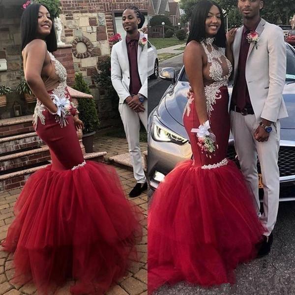 Sexy Rouge Foncé Robes De Bal 2019 Africain Saoudien Haut Cou Illusion Dentelle Appliques Sirène Robes De Soirée Dos Nu Tulle Longue Robe De Fête