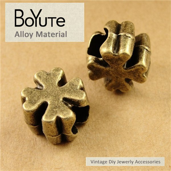 BoYuTe (60 Pieces/Lot) 1*1*7MM Antique Bronze Plated Zinc Alloy Metal Clover Beads for Jewelry Accessories Diy Necklace Bracelets Hand Made