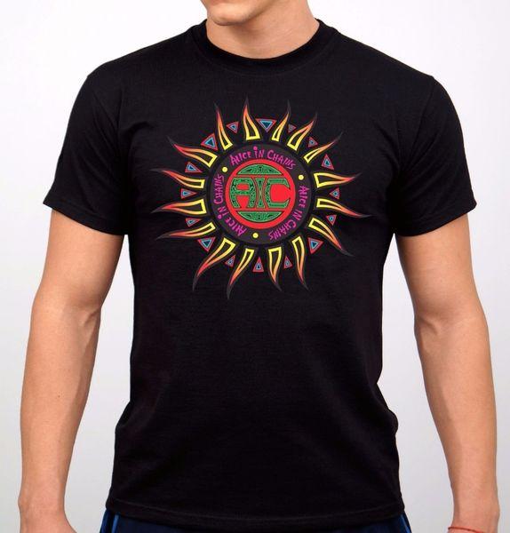 Printed T Shirt 2018 Fashion Brand O-Neck Short Sleeve Fashion 2018 Mens Alice In Chains Rock Band T-Shirt Black New Tees
