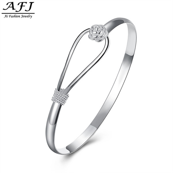2018 Fashion Jewelry Plated Silver Simple Circle Flower Rose Cuff Bangle Bracelet Elegant Fashion Style Charm For Girl Women