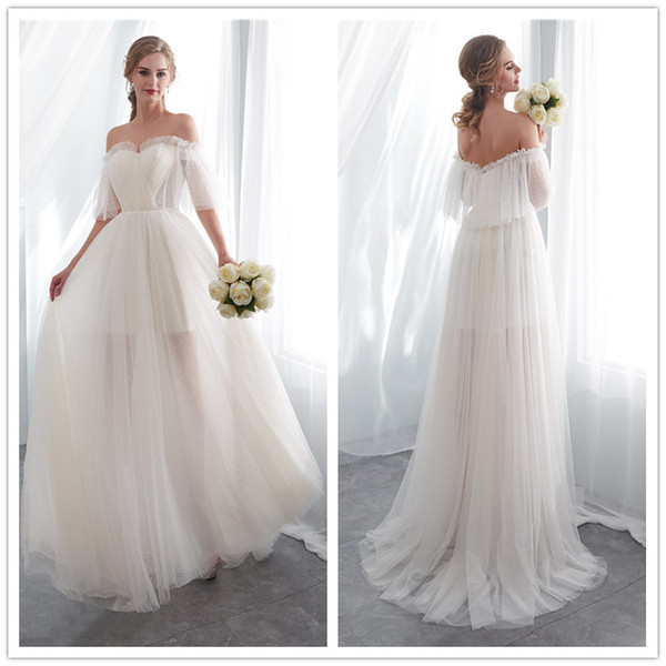 2018 elegant Champagne boho A-Line Wedding Dresses Off Shoulder Sweep Train tulle white lace Applique Simple Beach bridal gowns in stock