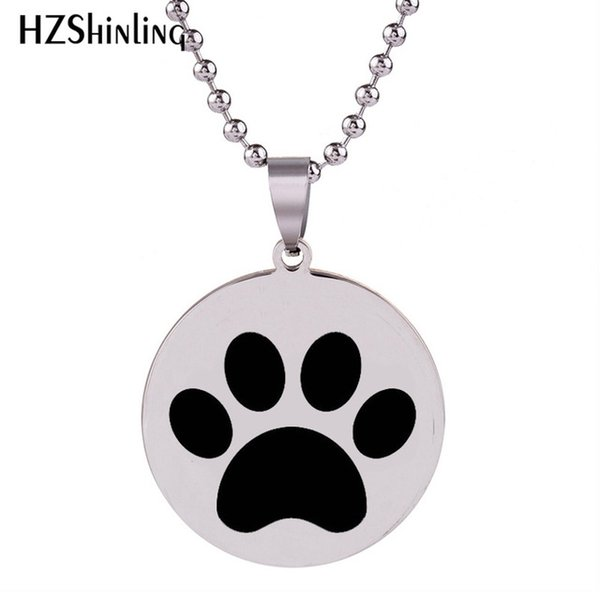 2018 New Dog Paw Print Stainless Steel Necklace Round Silver Art Pendant Hand Craft Jewelry Ball Chain Gifts For Men