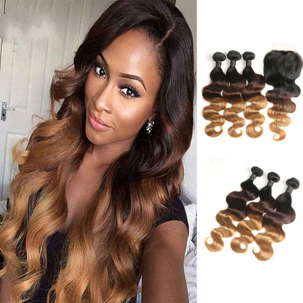 8A Ombre Hair Raw Virgin Virgin Body Body Wave Bundles con cierre 1B-4-27 Ombre Body Wave Hair Weave con 4X4 Cierre Body Wave