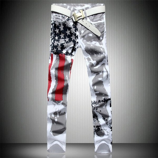 Fashion America Flag Printed Jeans Men Hip Hop Denim Biker Jeans Mens Slim Jogger Motorcycle Pants Streetwear Big Size 28-42