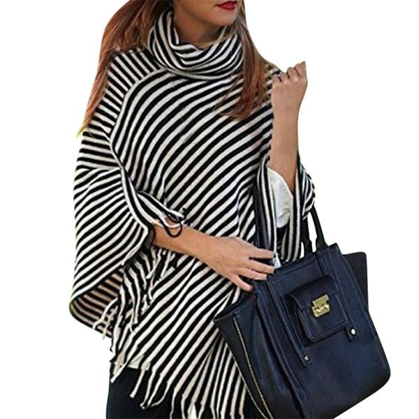 Autumn Winter Fashion Women Oblique Stripes Sweater Shawl Tassel Sweaters Womens Knitted Female Pullover Irregularity Cloak Tops