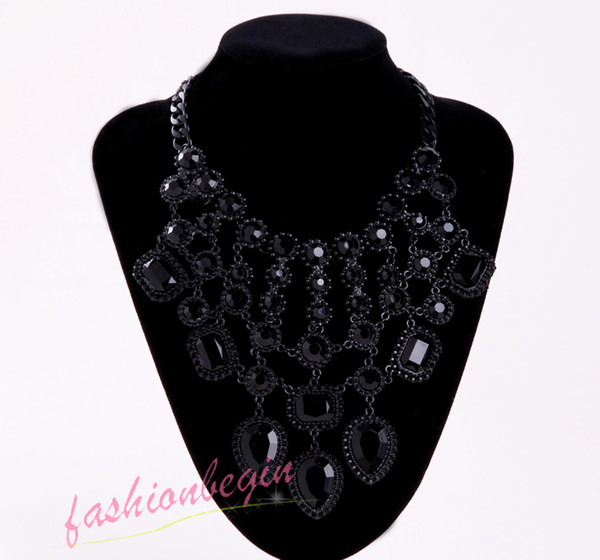 2014 New Lady gentle teardrop choker big bib statement Luxury black crystal woman necklace collar hot