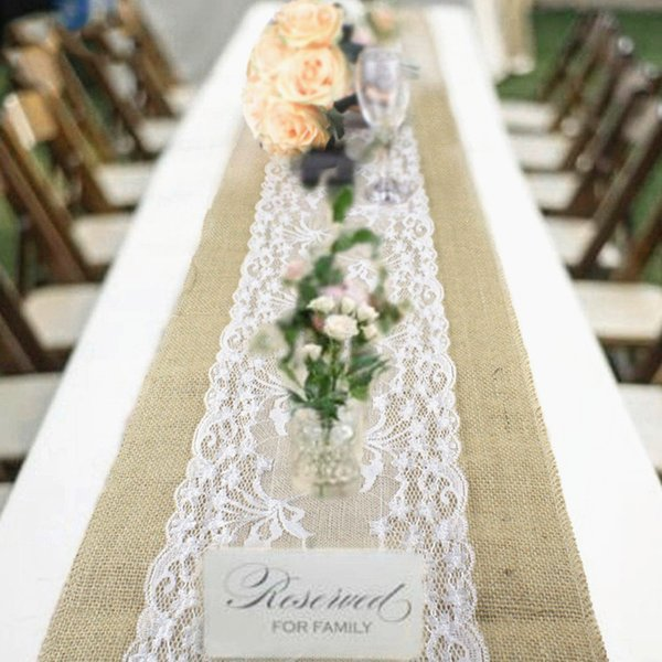 top popular Natural Burlap Table Runner Hessian Vintage Tablecloth Cover with Jute Lace Rose Pattern for Wedding Festival Event Table Decoration 2019