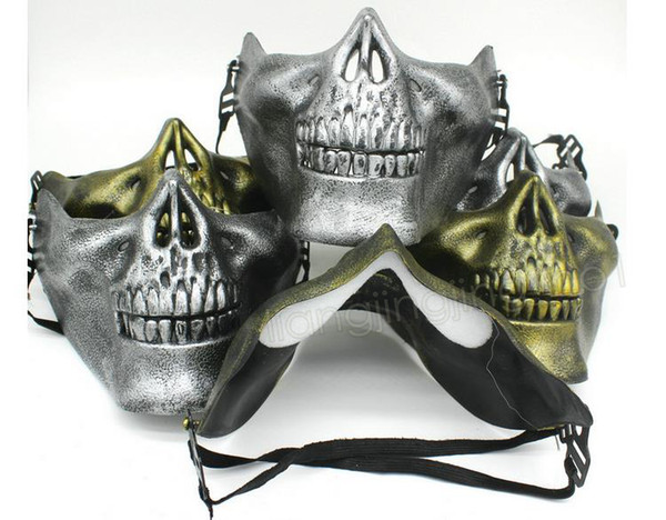 CS Skull Skeleton Máscara Airsoft Paintball Lower Half Face Máscara Protectora Para Halloween Carnaval Regalo de Fiesta DDA611