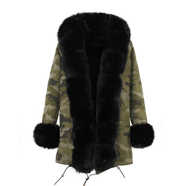 Lavish furs JAZZEVAR brand Women winter coats black fox and rabbit fur lining Camouflage shell long parkas black raccoon fur trim