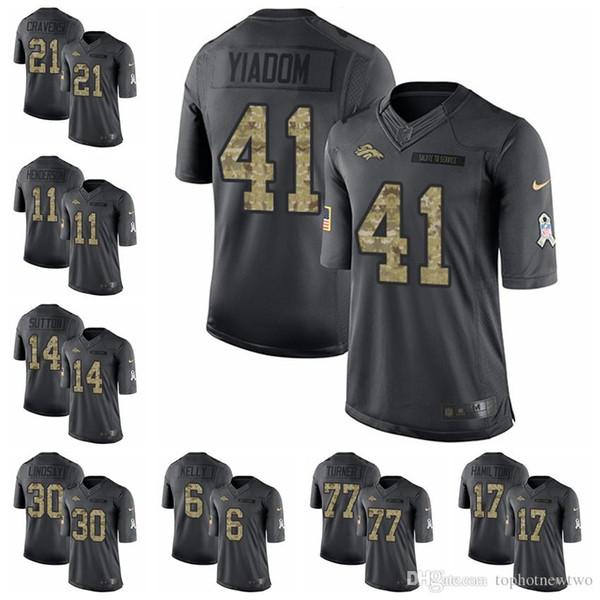 reputable site 532e9 29550 2019 Denver Black 2016 Salute To Service 58 Von Miller 7 John Elway 10  Emmanuel Sanders 18 Peyton Manning Broncos 19 Football Jerseys 1 From ...