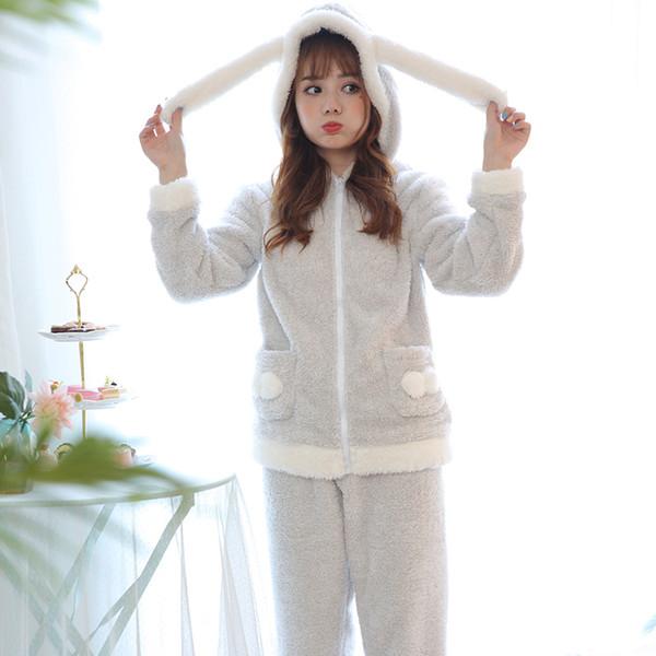 Pantalone a maniche lunghe in flanella da donna Set da pigiama in cartone animato con cappuccio con cerniera Calda giacca in flanella da donna invernale moda da notte