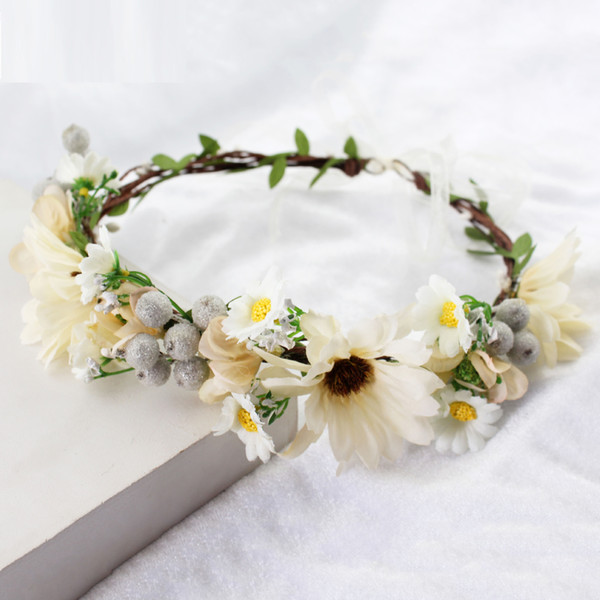 Flower Wreath Headband Floral Crown Garland Halo for Wedding Festivals Beach Photo Party Women Hair Accessories
