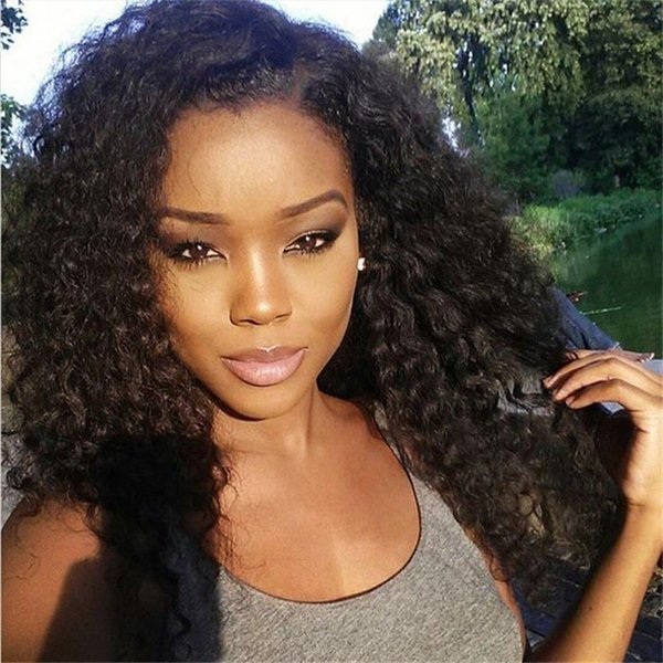 Brazilian Human Hair Lace Wigs for Black Women Kinky Curly Lace Front Wigs Medium Cap Size with Combs Natural Color