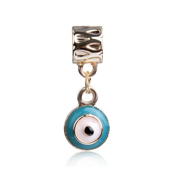 Two Style Blue Painted Evil Eye Dangle Unique Charm Bead Big Hole Fashion Women Jewelry European Style For Pandora Bracelet Necklace