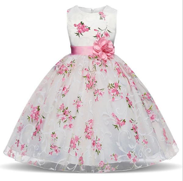 Abiti da ragazza a fiori per matrimoni O-collo senza maniche con fiore rosa Sash Girls Pageant Dress Petals Kids Formal Wear