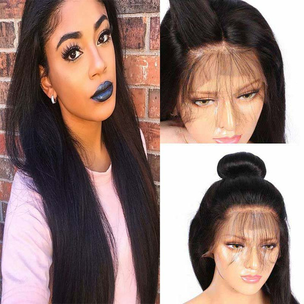 Silky Straight Brazilian Lace Front Human Hair Wigs 150% Density With Baby Hair Pre-plucked Glueless Full Lace Human Hair Wigs