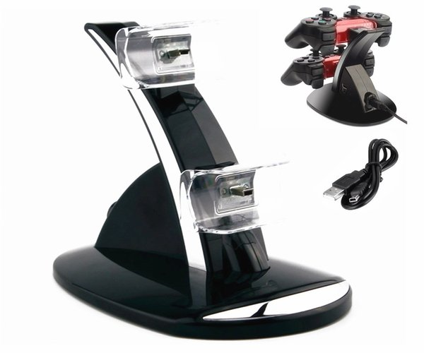 DUAL New arrival LED USB ChargeDock Docking Cradle Station Stand for wireless Sony Playstation 3 PS3 Game Controller Charger