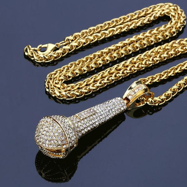 2018 Nueva Moda Colgantes de Micrófono Collar de Oro Lleno de diamantes de Imitación Iced Out Crystal Music Cantante Colgante Hip Hop Hombres Joyería