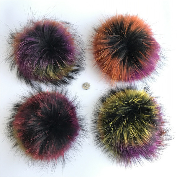 """15cm/6"""" Multicolor-Large Real Raccoon Fur PomPom Ball For Hat Cap Coat Shoes Accessaries w Button"""