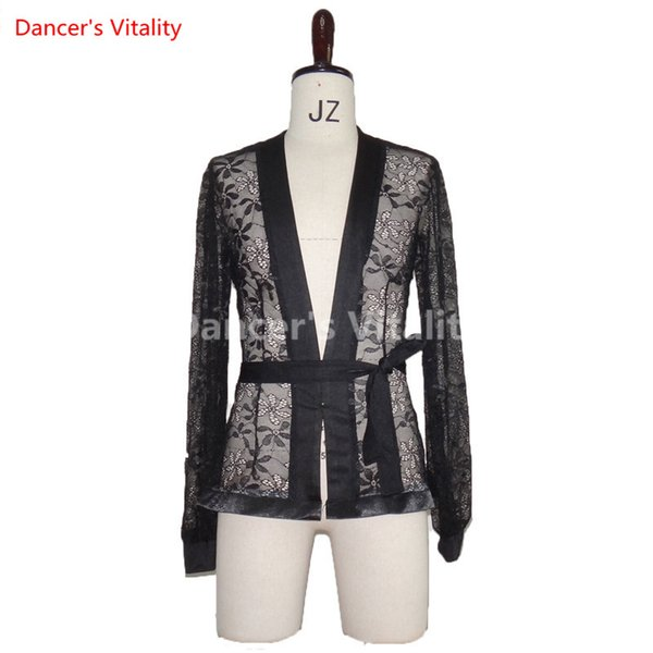 Latin Dance Men Tops Costume Performance Competition Suit Perspective Elastic Lace V-neck T-shirt Rumba Salsa Tango Chacha Boy Top with Belt