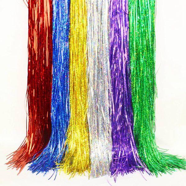 Воздушный шар дождь шелк украшение партии день рождения рождество свадьба этап фон реквизит дождь шелковый занавес кисточкой 14x100 см