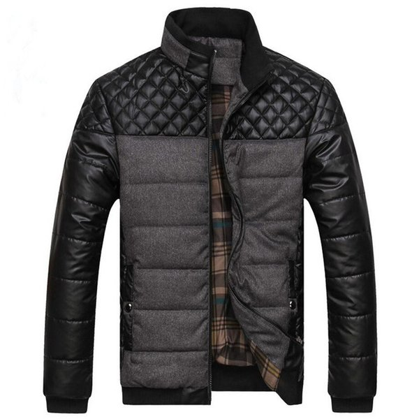 2018 New Winter warme Jacke Men Casual Thick Parkas Mäntel PU-Leder-Patchwork Designer Coon Padded Jacket Men Outwear 4XL