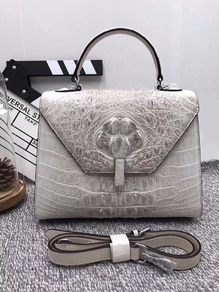 Luxury Designer Medium Size Genuine odile Skin Exotic Alligator Leather Ladies White Handbag Female Three-way Shoulder Bag