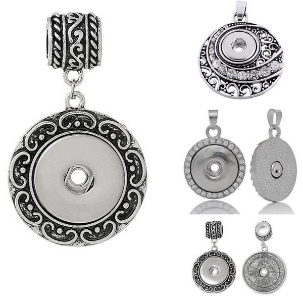 Free Shipping wholesale 3 styles 2018 newest fashion round noosa chunk necklace pendent charms fit snaps buttons