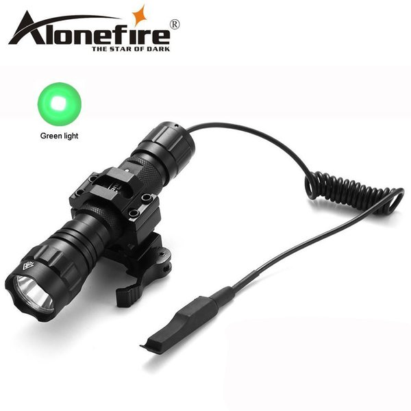 AloneFire 501Bs CREE Tactical Flashlight green flash lights 501B LED Hunting Torch +Remote Switch +Tactical mount