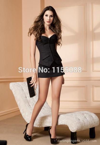 100 PCS / LOT Grand design Sexy Pinstripe Corset Jupe Bureau femmes à lacets Bustier Costume Costume dame mince ensemble Taille Shapewear