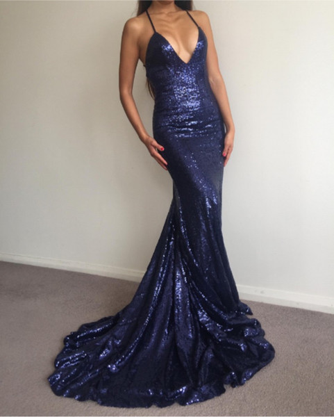 Formal Evening Dresses Women's Blue Spaghetti Strap Sequined Bridal Gown Special Occasion Prom Bridesmaid Party Dress