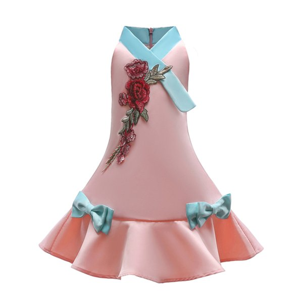 Girls Dress 2018 Embroidery Flower Summer Children Party Dresses For Girls Cute Prom Gown Kids Clothes